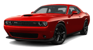 A red 2019 Dodge Challenger R/T Scat Pack