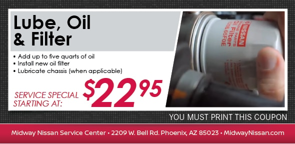 Nissan Oil Change Phoenix | Lube & Filter Service