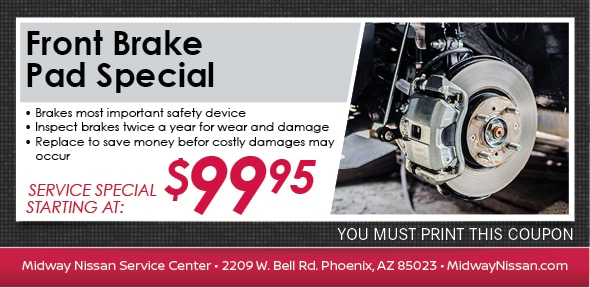 Brake Pad Service Special, Phoenix, AZ Automotive Service Coupon