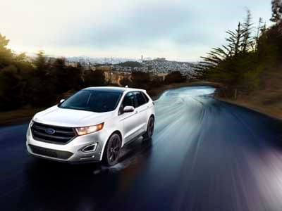 2018 Ford Edge Sport Driving on a wet road