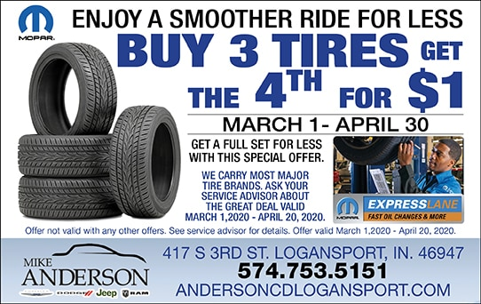 Buy 3 Tires, 4th for $1
