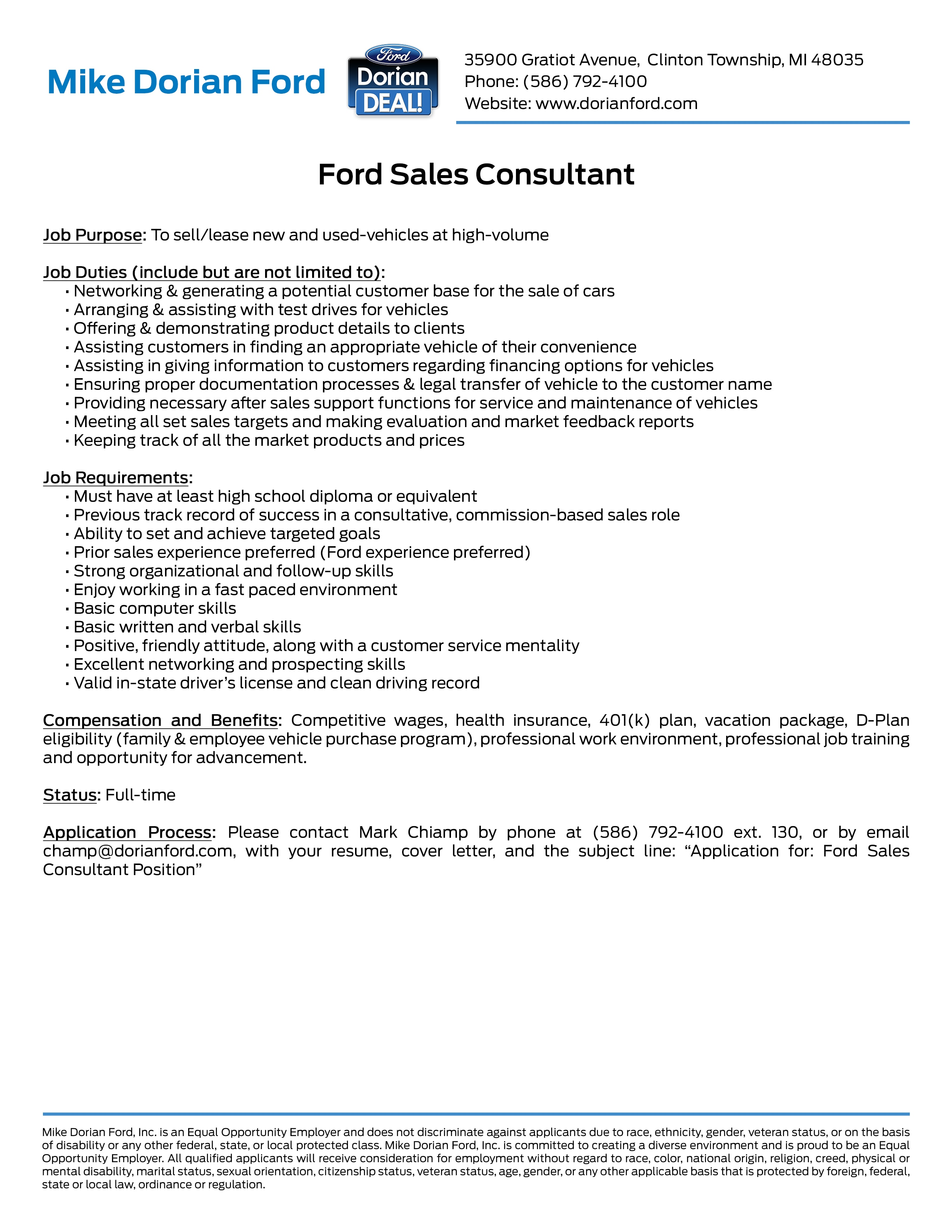 Employment Opportunities at Mike Dorian Ford