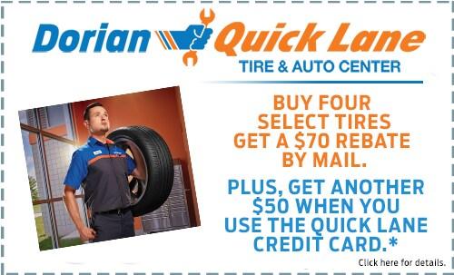 Buy 4 Select Tires Get $70 + $50