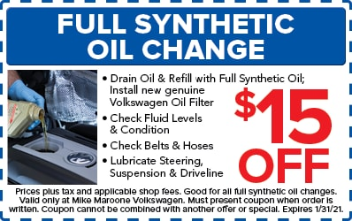 Full Synthetic Oil and Filter Change (VW)
