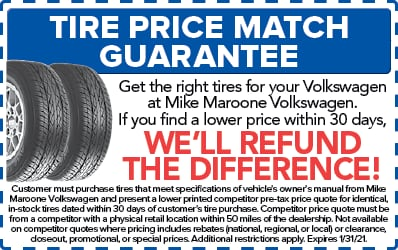Tire price match Guarantee (VW)