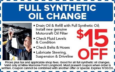 Full Synthetic Oil and Filter Change (Ford)