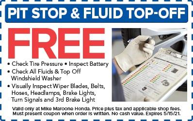 Pit stop & fluid top-off (Honda)
