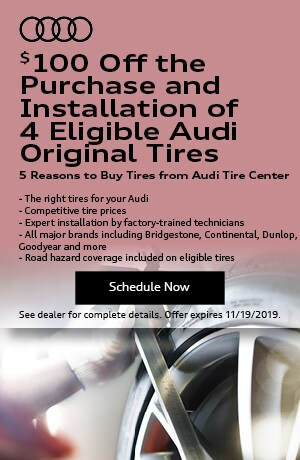 $100 Off the Purchase and Installation of 4 Eligible Audi Tires