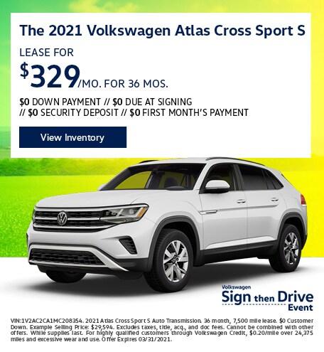 The 2021 Volkswagen Atlas Cross Sport S