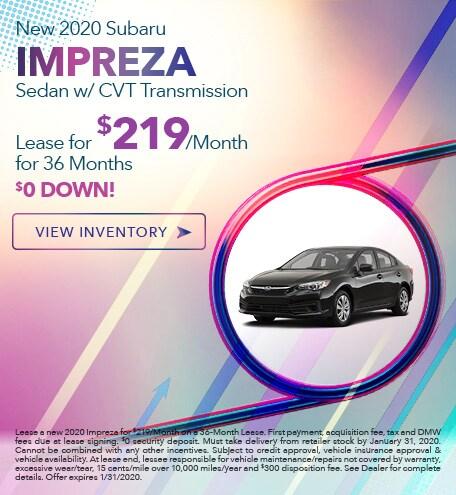 New 2020 Subaru Impreza Sedan w/ CVT Transmission - Jan