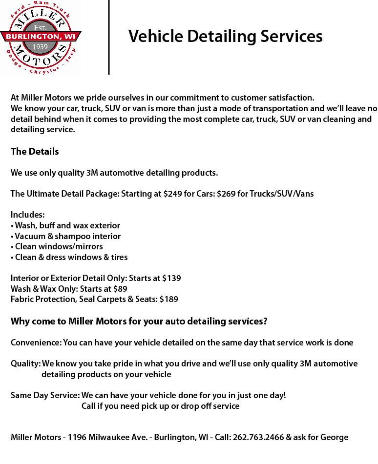 Miller Motors Burlington Wi >> VEHICLE DETAILING | Miller Motor Sales