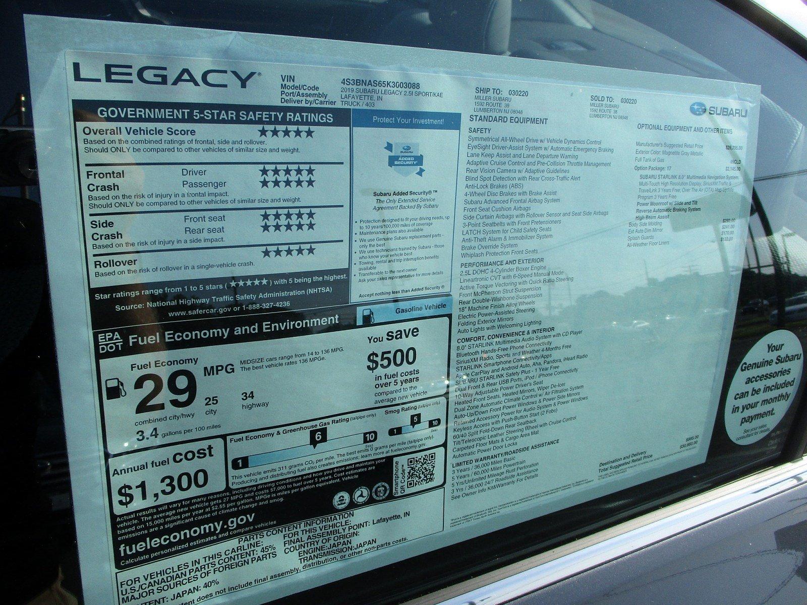 New 2019 Subaru Legacy 2 5i Sport For Sale or Lease Near Mt Holly NJ