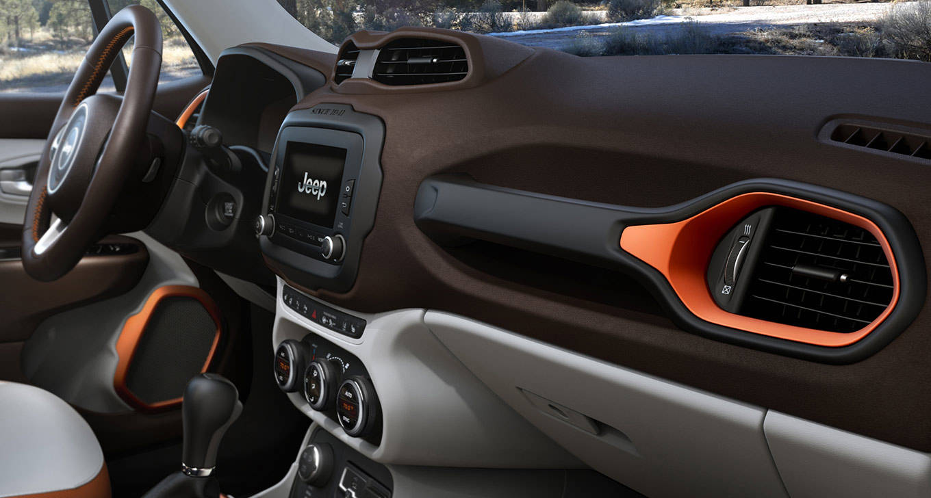 The inside of a Jeep Renegade