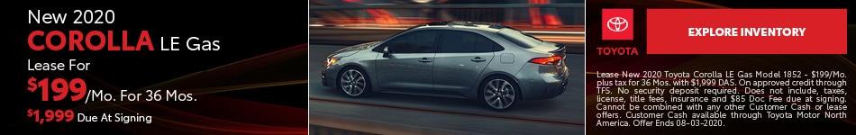 New 2020 Corolla LE Gas July