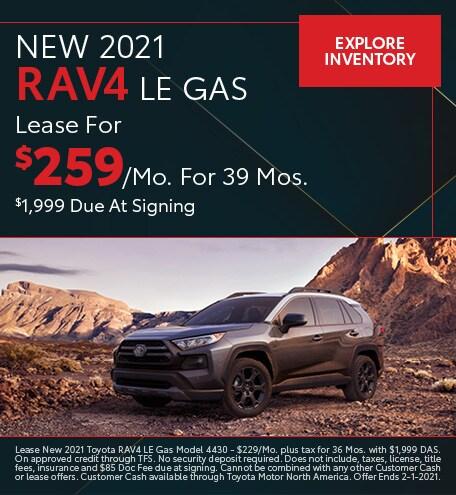 New 2021 RAV4 LE Gas January
