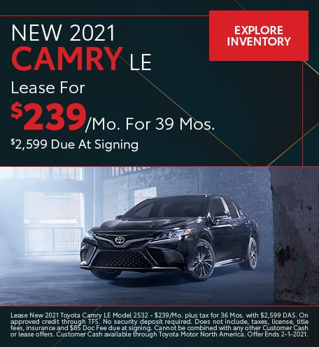 New 2021 Camry LE January