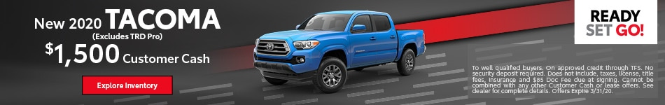 New 2020 Tacoma (Excludes TRD Pro)