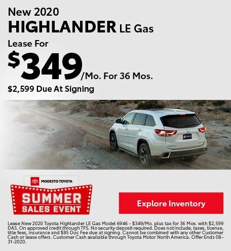New 2020 Highlander LE Gas August