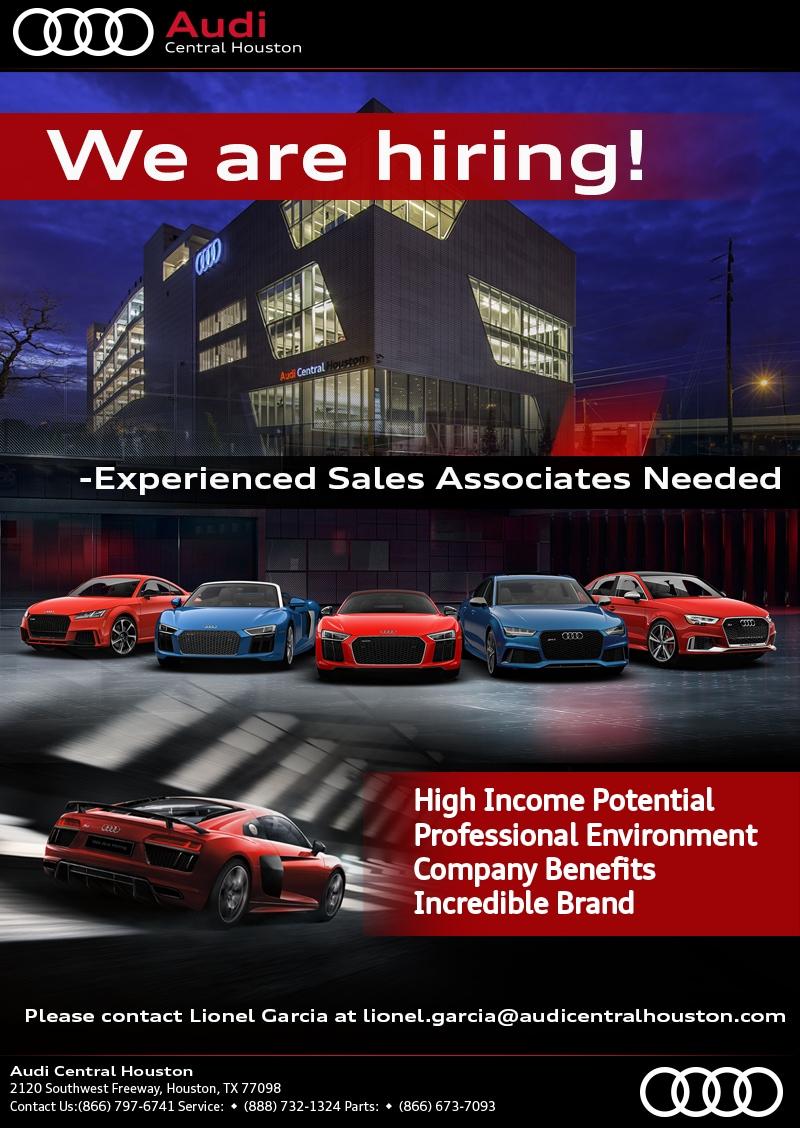 Audi Central Houston >> Audi Central Houston Is Hiring Audi Dealership Jobs