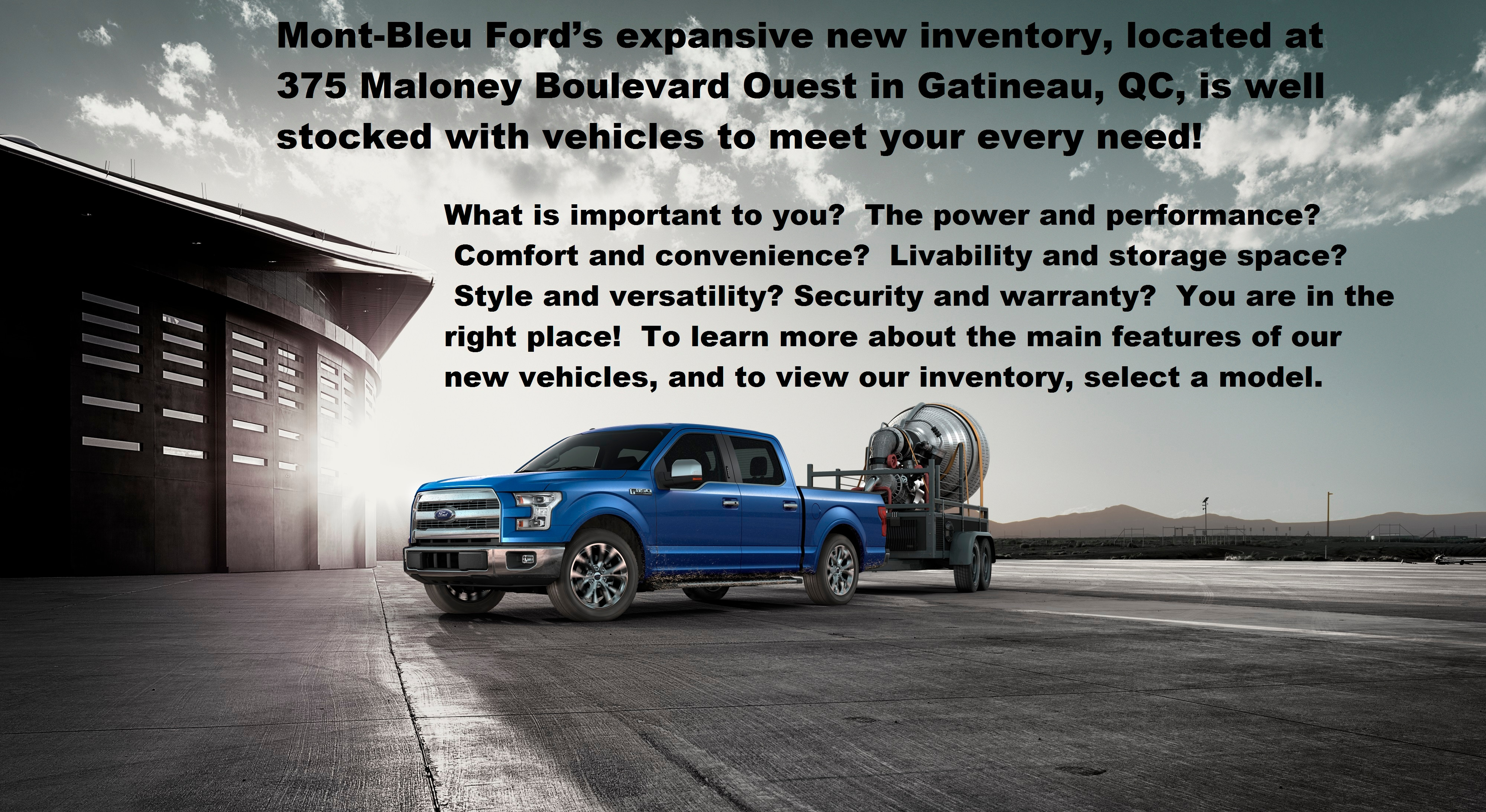 Mont bleu ford inventory for sale in gatineau qc j p w