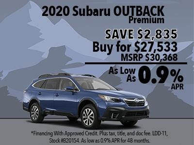 Save $2,835 on a 2020 Subaru Outback Premium