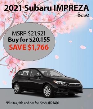 Save $1,766 on a 2021 Subaru Impreza