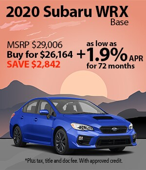Save $2,842 on a 2020 Subaru WRX