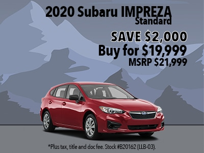 Save $2,000 on a 2020 Subaru Impreza Standard