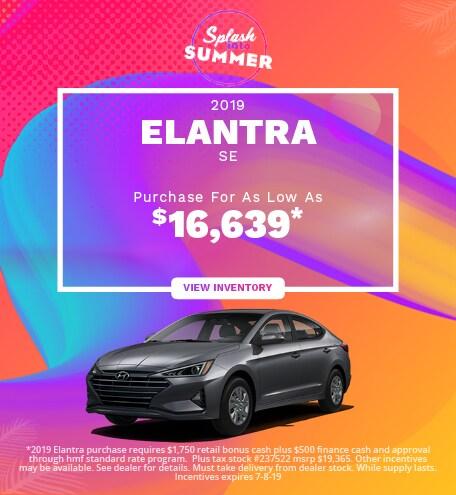 New 2019 Hyundai Elantra SE- 06/05/2019