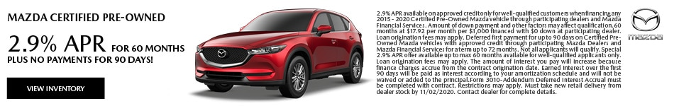 2.9% APR for 60 Months PLUS No Payments for 90 Days