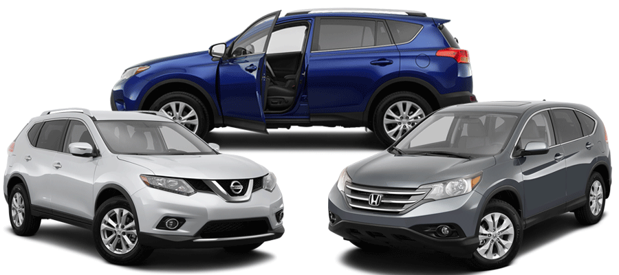 Three SUVs in a group in Cobalt Blue, Grey, and Silver