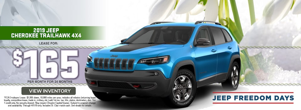 2019 Jeep Cherokee Trailhawk 4x4 Lease Special