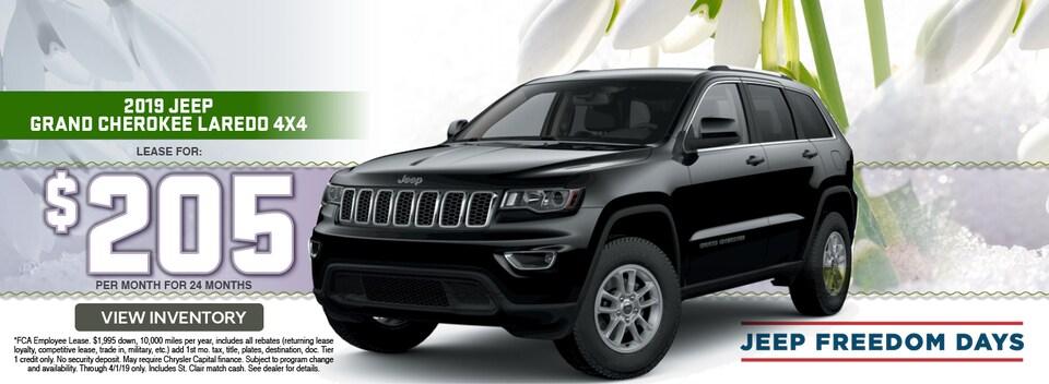 2019 Jeep Grand Cherokee Laredo 4x4 Lease Special