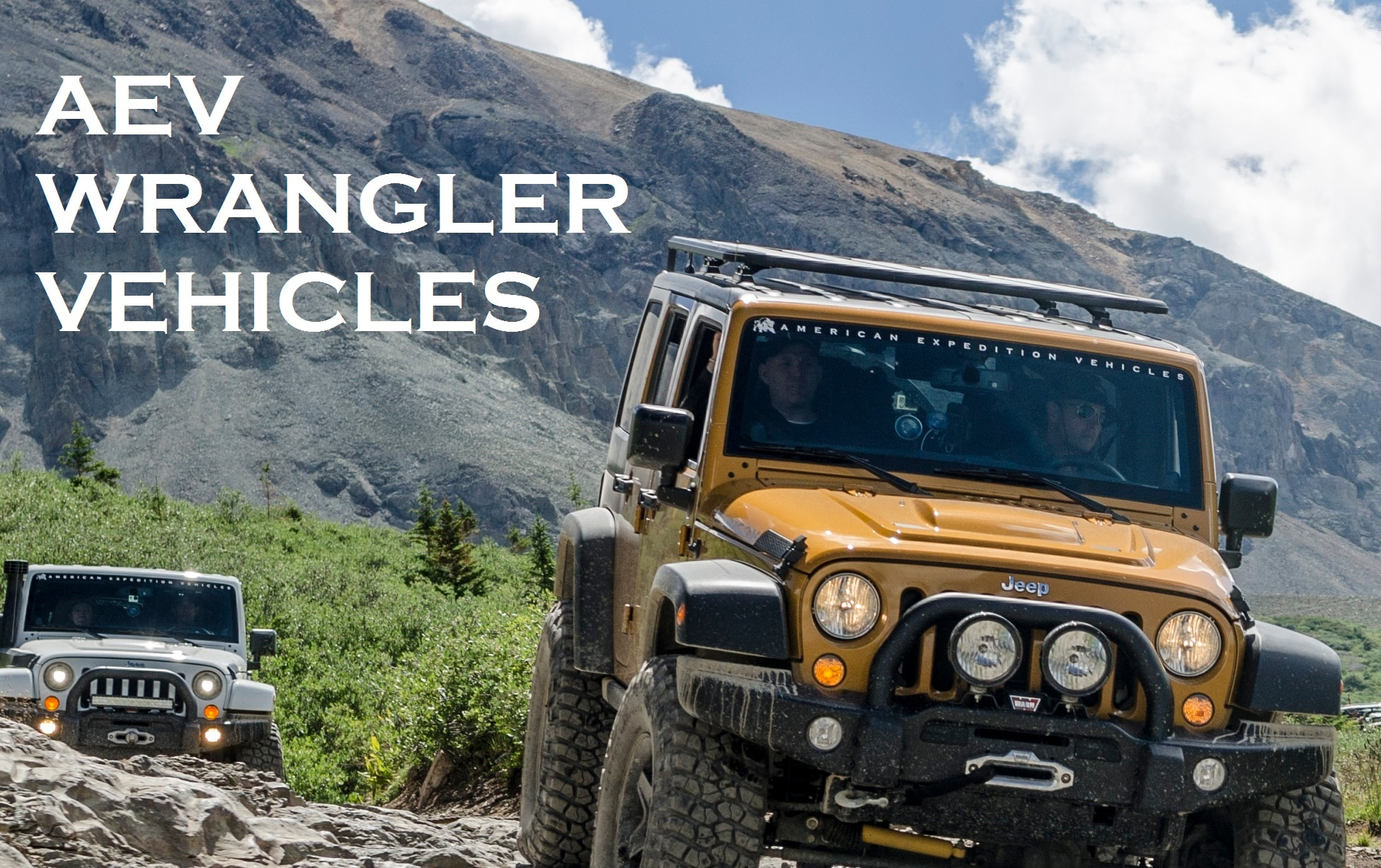 AEV Jeep Wranglers scaling rocky hill near Durango, CO.