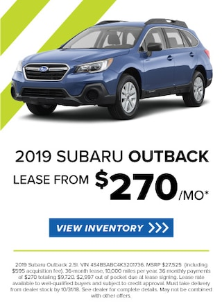 Lease a new 2019 Outback for $285/Month
