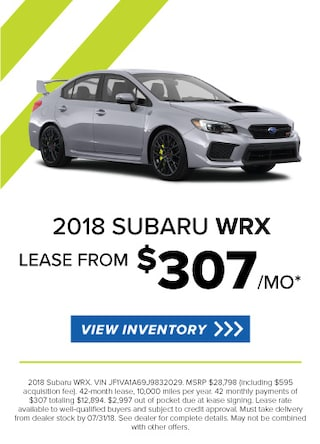 Lease a new 2018 WRX for $325/Month