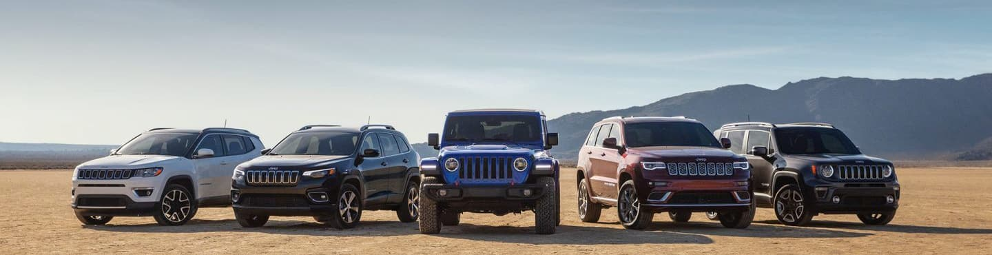 Jeep Vehicle Model Lineup in the desert