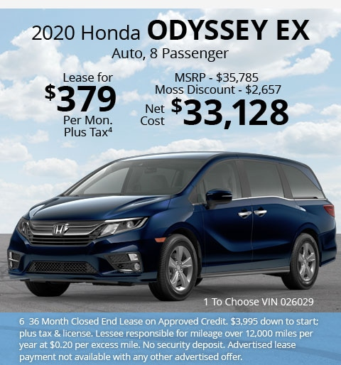 New 2020 Honda Odyssey EX Van Automatic - Lease for Only $379 per month plus tax[6]; OR Sale Price: $33,128