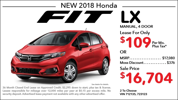 New 2018 Honda Fit LX Manual   Lease For Only $109 Per Month Plus Tax[ ...