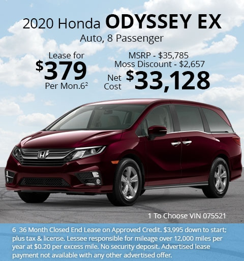 New 2020 Honda Odyssey EX Automatic - Lease for Only $379 per month plus tax[6]; OR Sale Price: $33,128