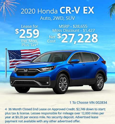 New 2020 Honda CR-V EX 2WD SUV Automatic - Lease for Only $259 per month plus tax[4]; OR Sale Price: $27,228