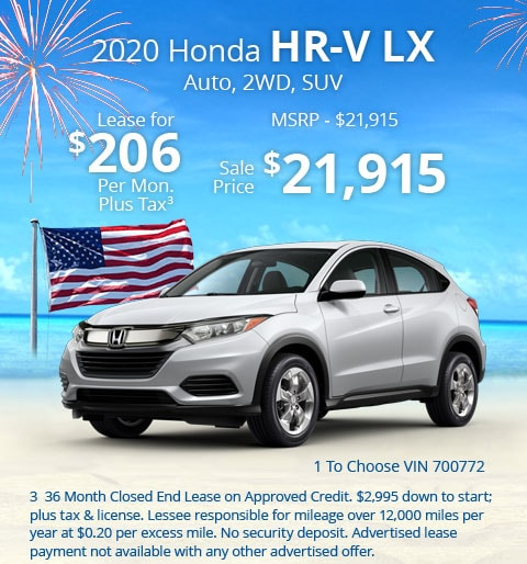 New 2019 Honda HR-V LX 2WD SUV Automatic - Lease for Only $206 per month plus tax[2]; OR Sale Price: $21,915