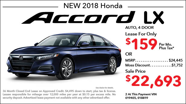 New 2018 Honda Accord LX Sedan Automatic   Lease For Only $159 Per Month  Plus Tax ...