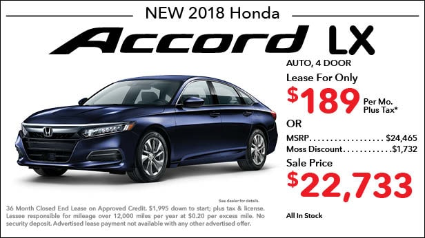 New 2018 Honda Accord LX Sedan Automatic - Lease for Only $189 per month plus tax[3]; OR Sale Price: $22,733
