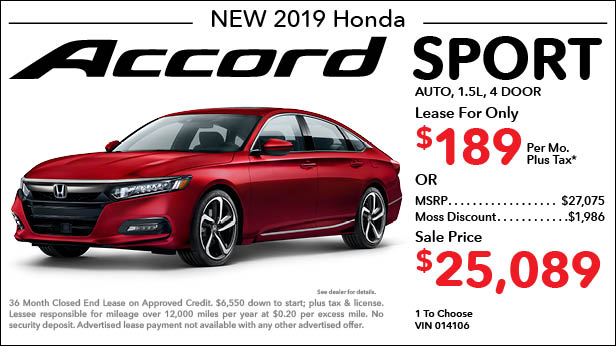 New 2019 Honda Accord Sport Sedan Automatic - Lease for Only $189 per month plus tax[4]; OR Sale Price: $25,089