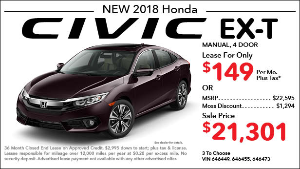 New 2018 Honda Civic EX-T Sedan Manual - Lease for Only $149 per month plus tax[1]; OR Sale Price: $21,301