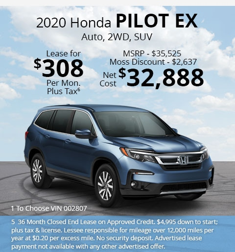 New 2020 Honda Pilot EX FWD SUV Automatic - Lease for Only $308 per month plus tax[5]; OR Sale Price: $32,888