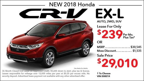 New 2018 Honda CR-V EX-L 2WD SUV Automatic - Lease for Only $239 per month plus tax[5]; OR Sale Price: $29,010