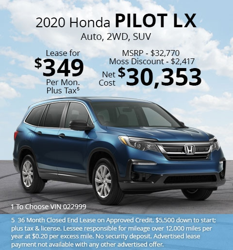 New 2020 Honda Pilot LX FWD SUV Automatic - Lease for Only $349 per month plus tax[5]; OR Sale Price: $30,353