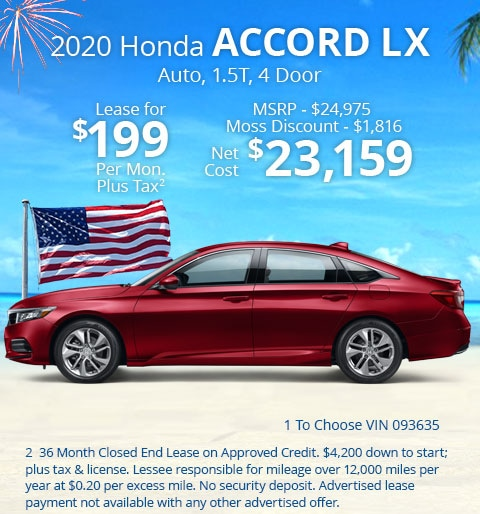 New 2020 Honda Accord LX 1.5T Sedan Automatic - Lease for Only $199 per month plus tax[3]; OR Sale Price: $23,159